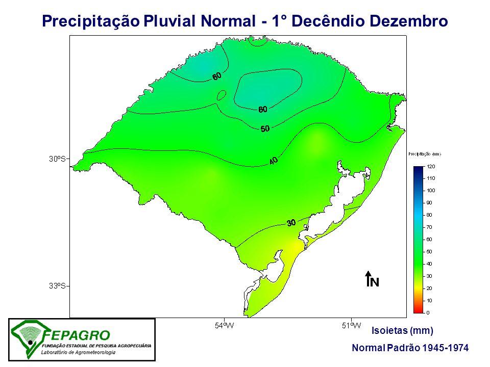 Precipitação Pluvial Ocorrida - 1° Decêndio Dezembro/2005 Isoietas (mm) Fonte: FEPAGRO / 8° DISME