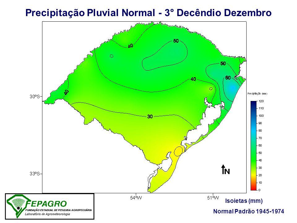 Precipitação Pluvial Ocorrida - 3° Decêndio Dezembro/2005 Isoietas (mm) Fonte: FEPAGRO / 8° DISME