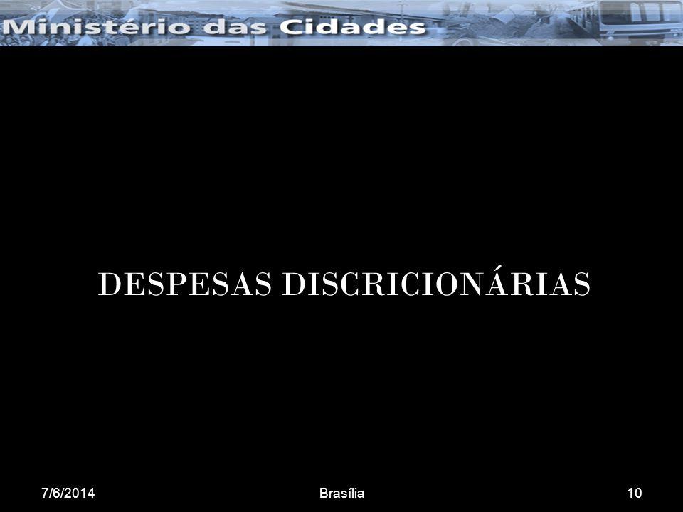 7/6/2014Brasília10 DESPESAS DISCRICIONÁRIAS