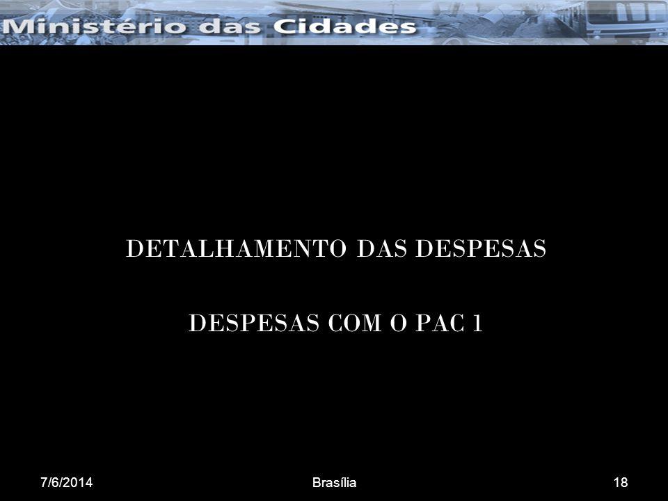 7/6/2014Brasília18 DETALHAMENTO DAS DESPESAS DESPESAS COM O PAC 1