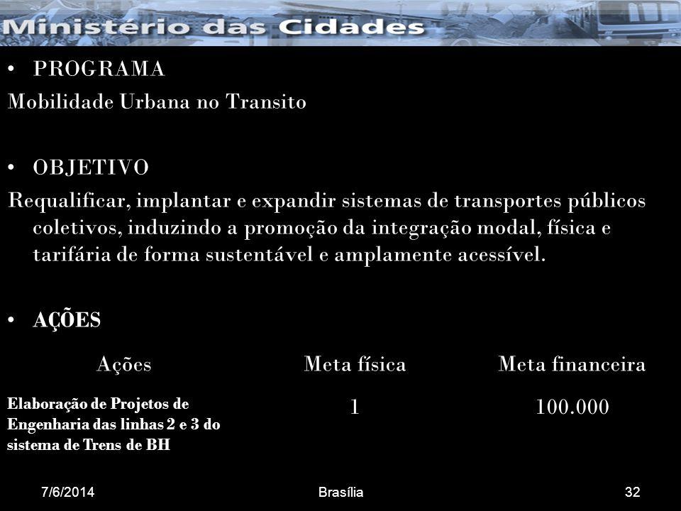 7/6/2014Brasília32 PROGRAMA Mobilidade Urbana no Transito OBJETIVO Requalificar, implantar e expandir sistemas de transportes públicos coletivos, induzindo a promoção da integração modal, física e tarifária de forma sustentável e amplamente acessível.