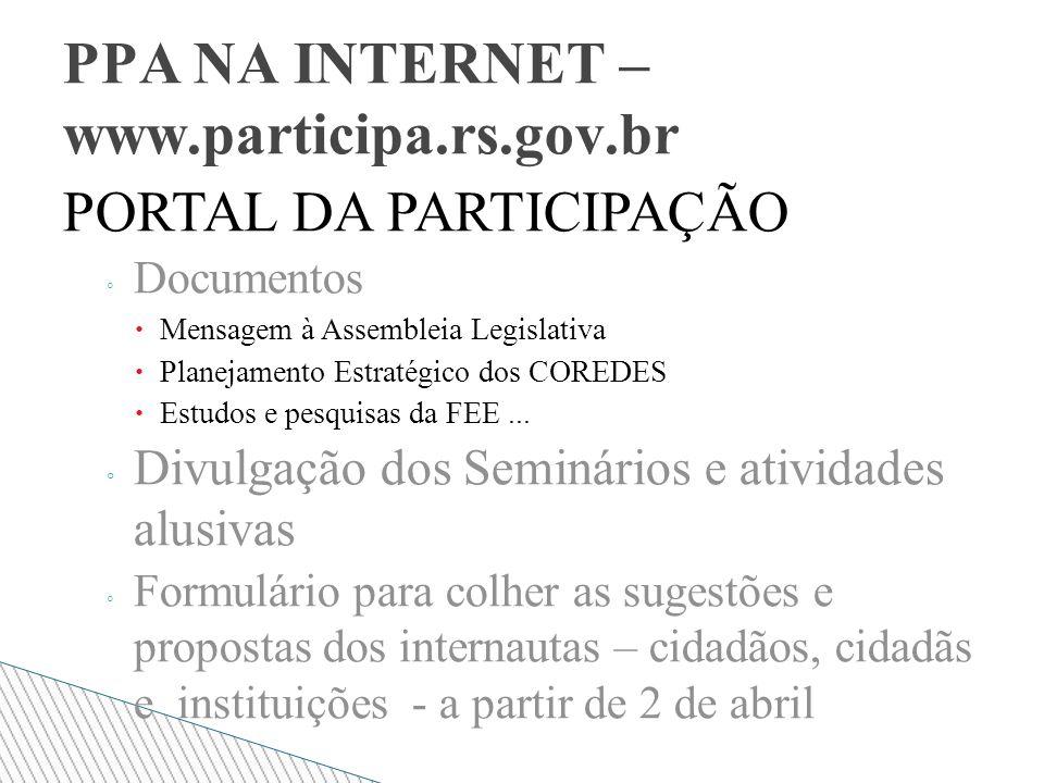 PORTAL DA PARTICIPAÇÃO Documentos Mensagem à Assembleia Legislativa Planejamento Estratégico dos COREDES Estudos e pesquisas da FEE...