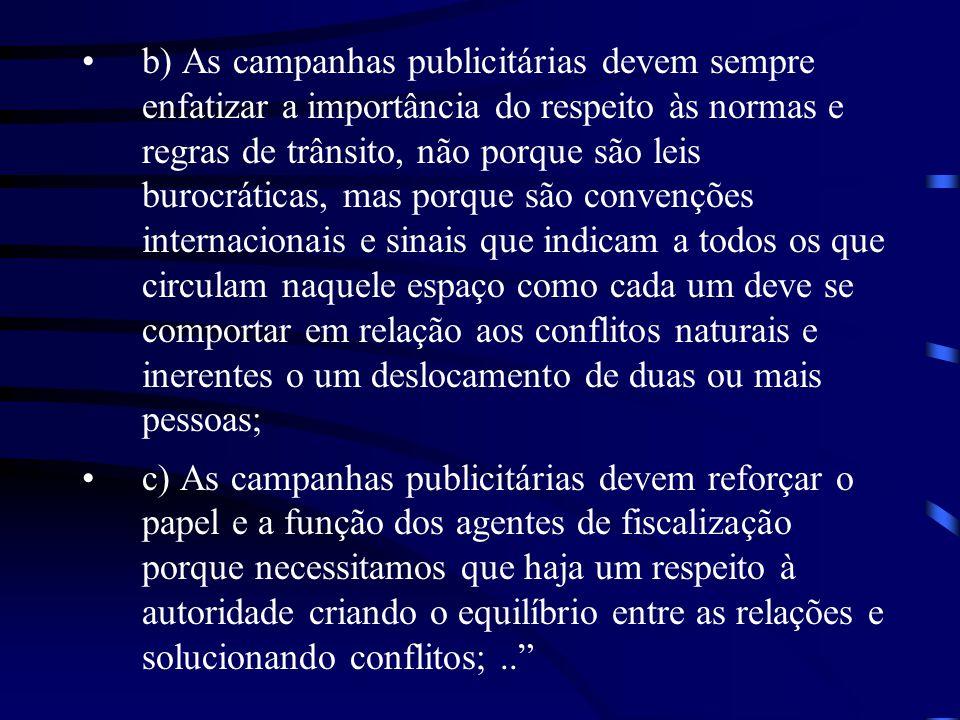 b) As campanhas publicitárias devem sempre enfatizar a importância do respeito às normas e regras de trânsito, não porque são leis burocráticas, mas p