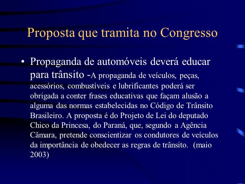 Proposta que tramita no Congresso Propaganda de automóveis deverá educar para trânsito - A propaganda de veículos, peças, acessórios, combustíveis e l