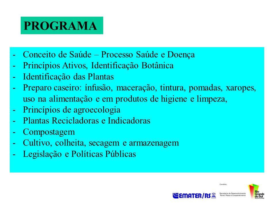 PROGRAMA -Conceito de Saúde – Processo Saúde e Doença -Princípios Ativos, Identificação Botânica -Identificação das Plantas -Preparo caseiro: ínfusão,