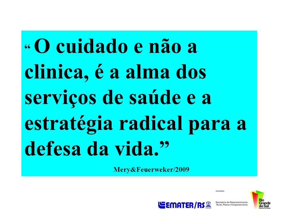 O cuidado e não a clinica, é a alma dos serviços de saúde e a estratégia radical para a defesa da vida. Mery&Feuerweker/2009