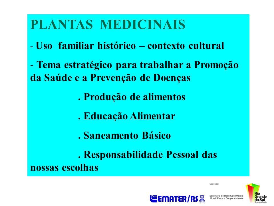 PLANTAS MEDICINAIS - Uso familiar histórico – contexto cultural - Tema estratégico para trabalhar a Promoção da Saúde e a Prevenção de Doenças. Produç