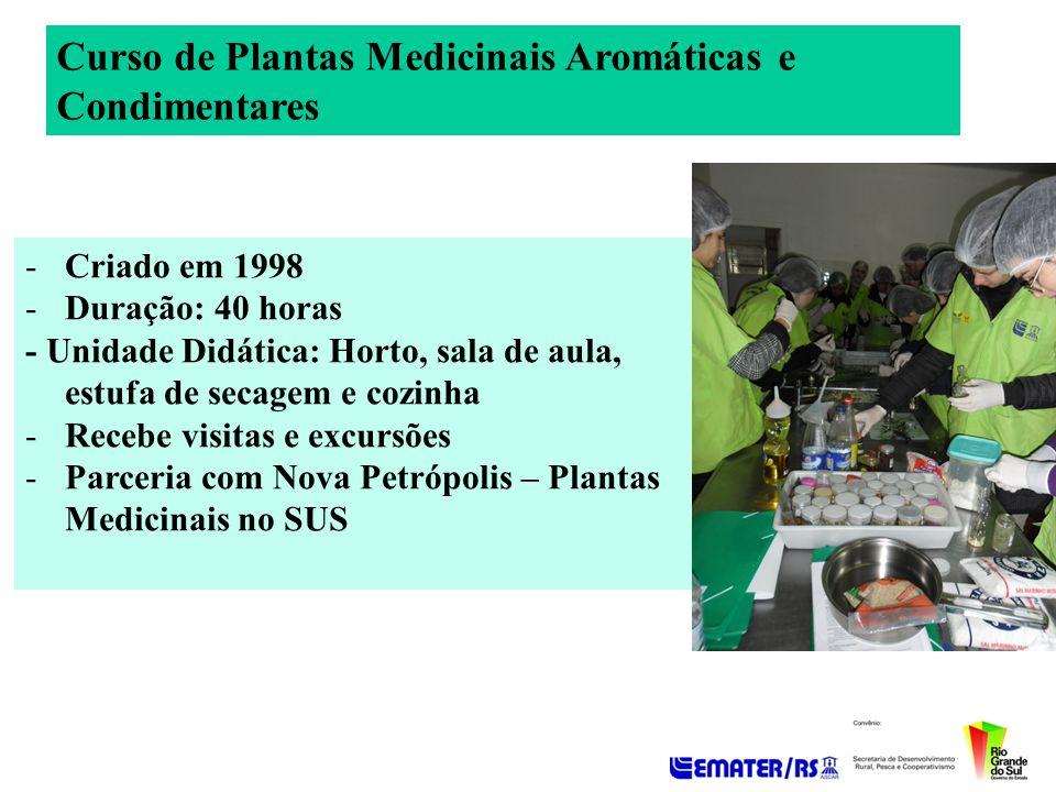 Curso de Plantas Medicinais Aromáticas e Condimentares -Criado em 1998 -Duração: 40 horas - Unidade Didática: Horto, sala de aula, estufa de secagem e