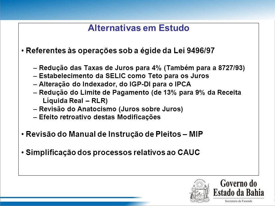 Alternativas em Estudo Referentes às operações sob a égide da Lei 9496/97 – Redução das Taxas de Juros para 4% (Também para a 8727/93) – Estabelecimen