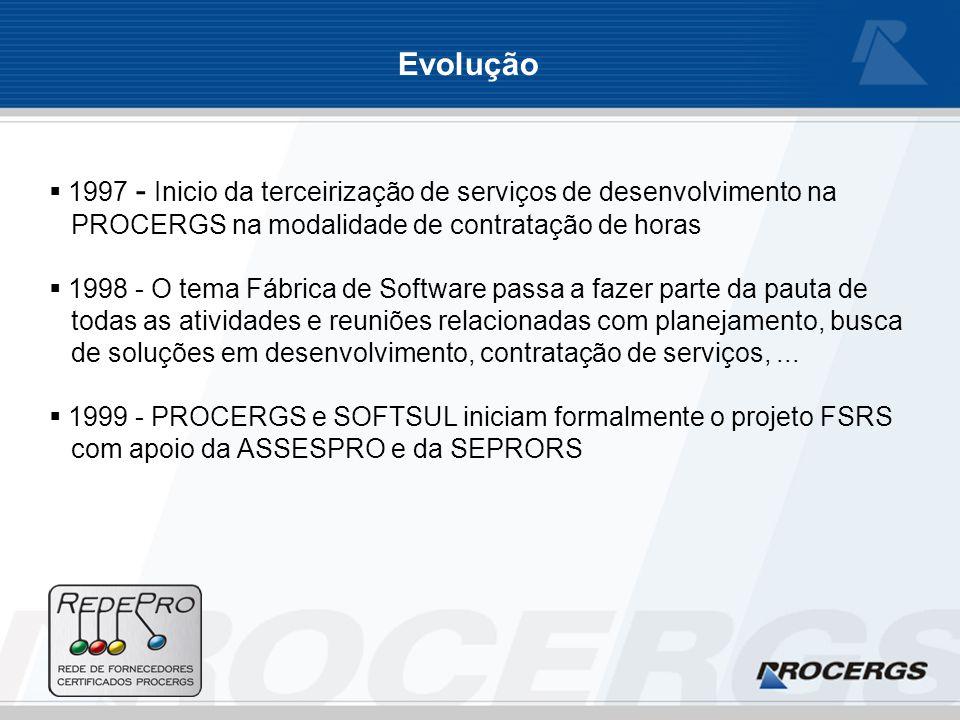 1997 - Inicio da terceirização de serviços de desenvolvimento na PROCERGS na modalidade de contratação de horas 1998 - O tema Fábrica de Software passa a fazer parte da pauta de todas as atividades e reuniões relacionadas com planejamento, busca de soluções em desenvolvimento, contratação de serviços,...