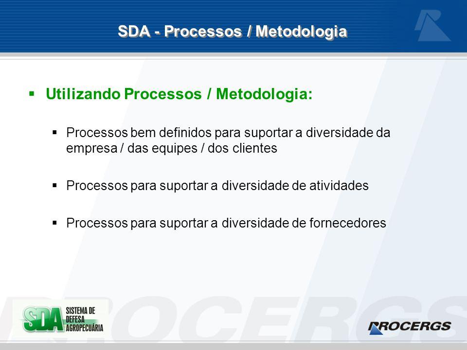 Utilizando Processos / Metodologia: Processos bem definidos para suportar a diversidade da empresa / das equipes / dos clientes Processos para suportar a diversidade de atividades Processos para suportar a diversidade de fornecedores SDA - Processos / Metodologia