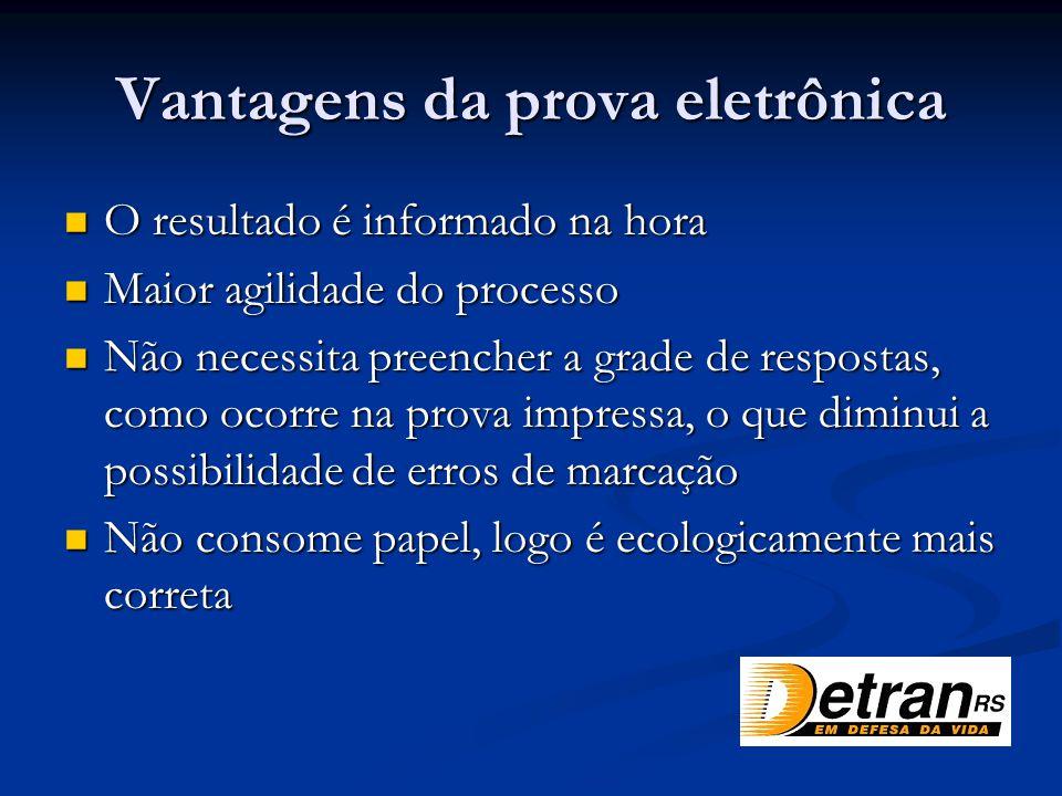 Vantagens da prova eletrônica O resultado é informado na hora O resultado é informado na hora Maior agilidade do processo Maior agilidade do processo