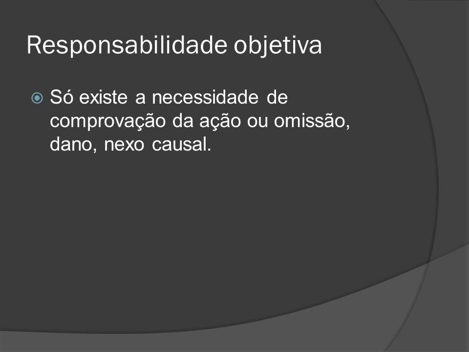 Responsabilidade objetiva Só existe a necessidade de comprovação da ação ou omissão, dano, nexo causal.