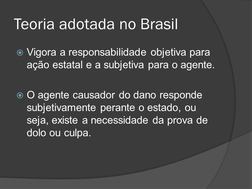 Teoria adotada no Brasil Vigora a responsabilidade objetiva para ação estatal e a subjetiva para o agente. O agente causador do dano responde subjetiv