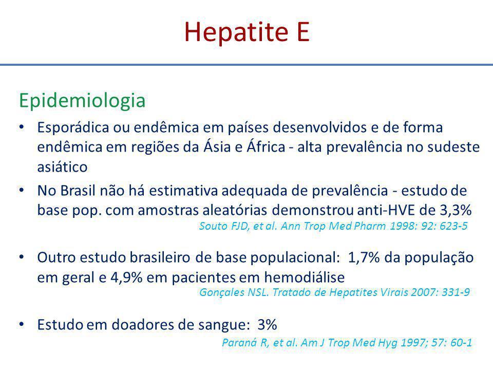 Hepatite D Patogenia - controversa Ação citopática direta do VHD decorrente da expressão do HDAg nos hepatócitos ou pela replicação de seu genoma Ação citopática do HDAg associado a replicação do RNA do VHD Fator imunológico - elevada prevalência de autoanticorpos na infecção pelo VHD OU