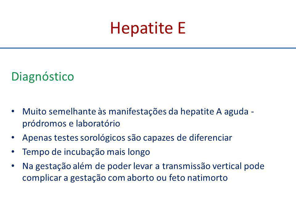 Hepatite D Aspectos clínicos 2 - SUPERINFECÇÃO DO VHD EM PORTADOR DO VHB (sintomático ou não) Sem diferença clínica e laboratorial da coinfecção VHB + VHD Geralmente a consequência é exacerbação do quadro clínico, bioquímico e histológico - agravamento do processo e evolução clínica rápida e progressiva para formas mais graves, até cirrose Pior prognóstico Cronicidade 80% (x 3% na coinfecção)
