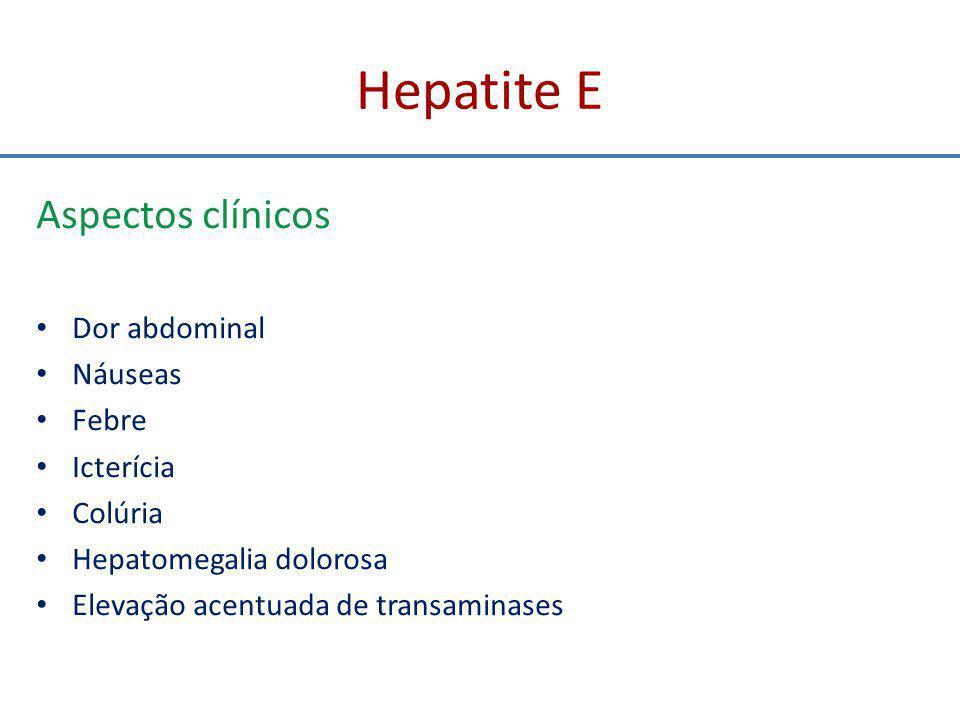 Hepatite E Aspectos clínicos e evolução Evolução autolimitada e benigna na maior parte das vezes Evolução para hepatite aguda grave fulminante pode ocorrer - maior probabilidade entre os vírus hepatotrópicos - CIVD mais comum