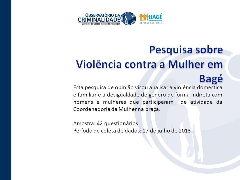 Esta pesquisa de opinião visou analisar a violência doméstica e familiar e a desigualdade de gênero de forma indireta com homens e mulheres que partic