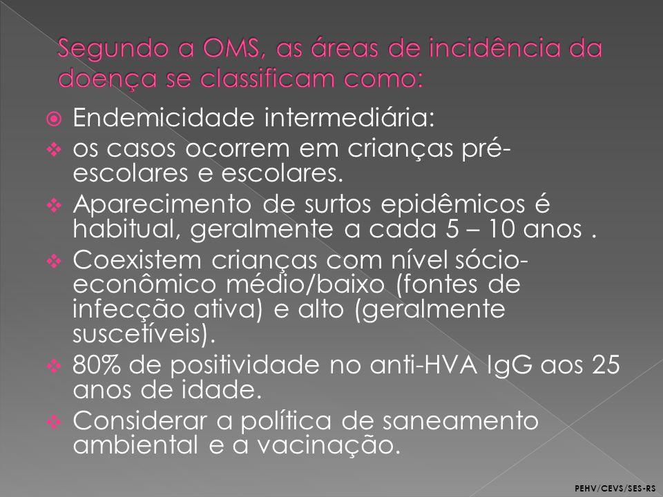 Endemicidade intermediária: os casos ocorrem em crianças pré- escolares e escolares. Aparecimento de surtos epidêmicos é habitual, geralmente a cada 5