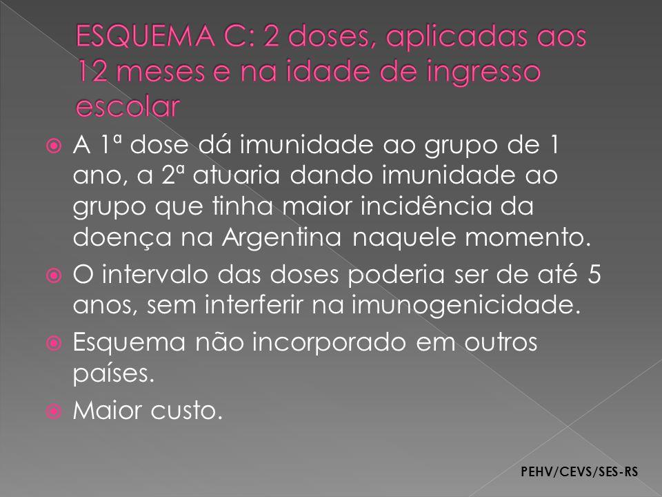 A 1ª dose dá imunidade ao grupo de 1 ano, a 2ª atuaria dando imunidade ao grupo que tinha maior incidência da doença na Argentina naquele momento. O i