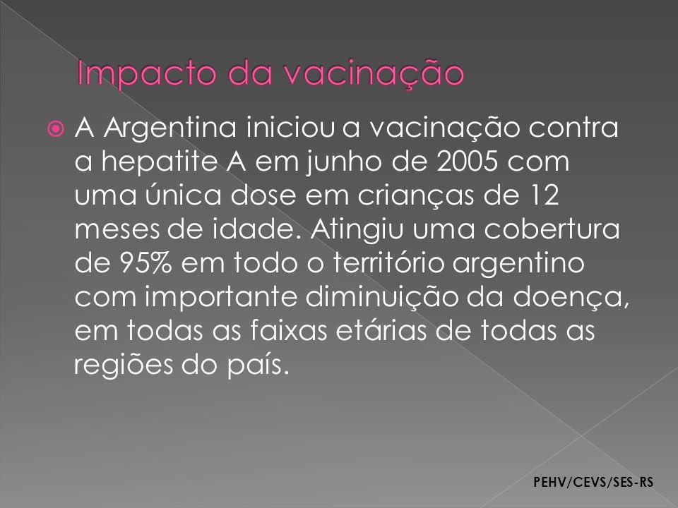 A Argentina iniciou a vacinação contra a hepatite A em junho de 2005 com uma única dose em crianças de 12 meses de idade. Atingiu uma cobertura de 95%