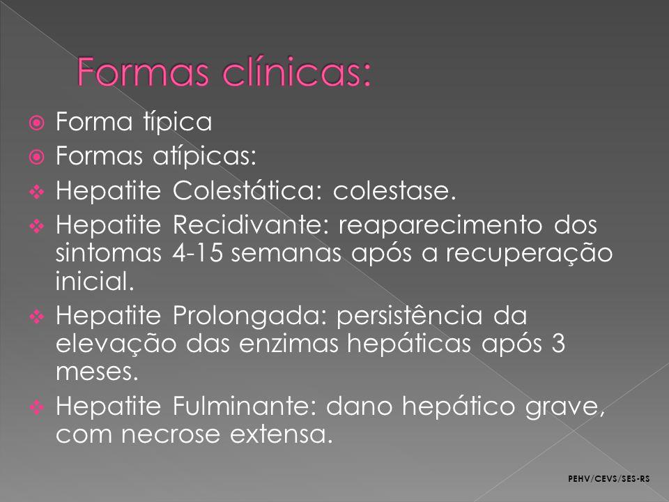 Forma típica Formas atípicas: Hepatite Colestática: colestase. Hepatite Recidivante: reaparecimento dos sintomas 4-15 semanas após a recuperação inici