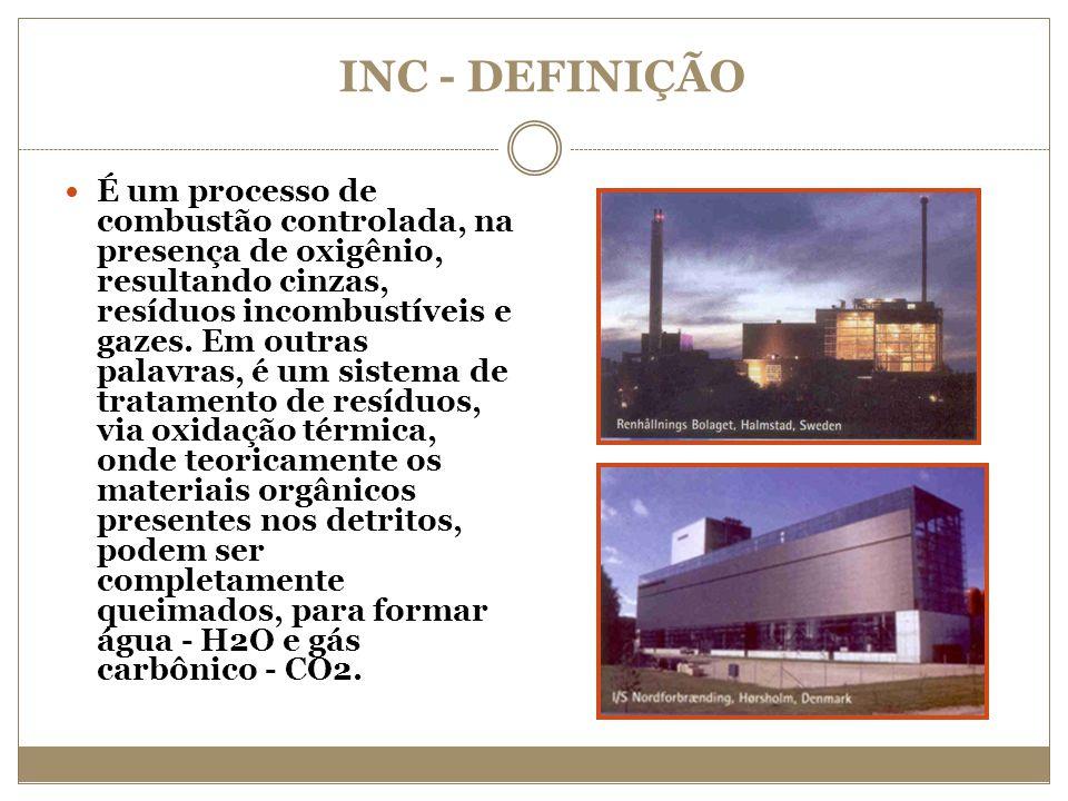 INC - DEFINIÇÃO É um processo de combustão controlada, na presença de oxigênio, resultando cinzas, resíduos incombustíveis e gazes. Em outras palavras