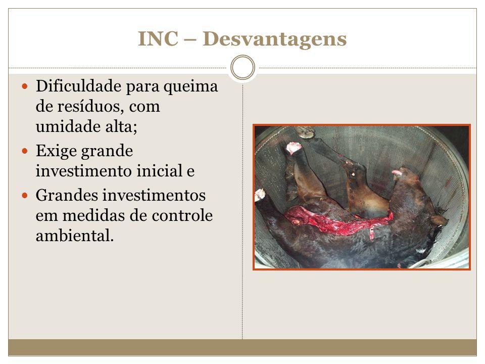 INC – Desvantagens Dificuldade para queima de resíduos, com umidade alta; Exige grande investimento inicial e Grandes investimentos em medidas de cont