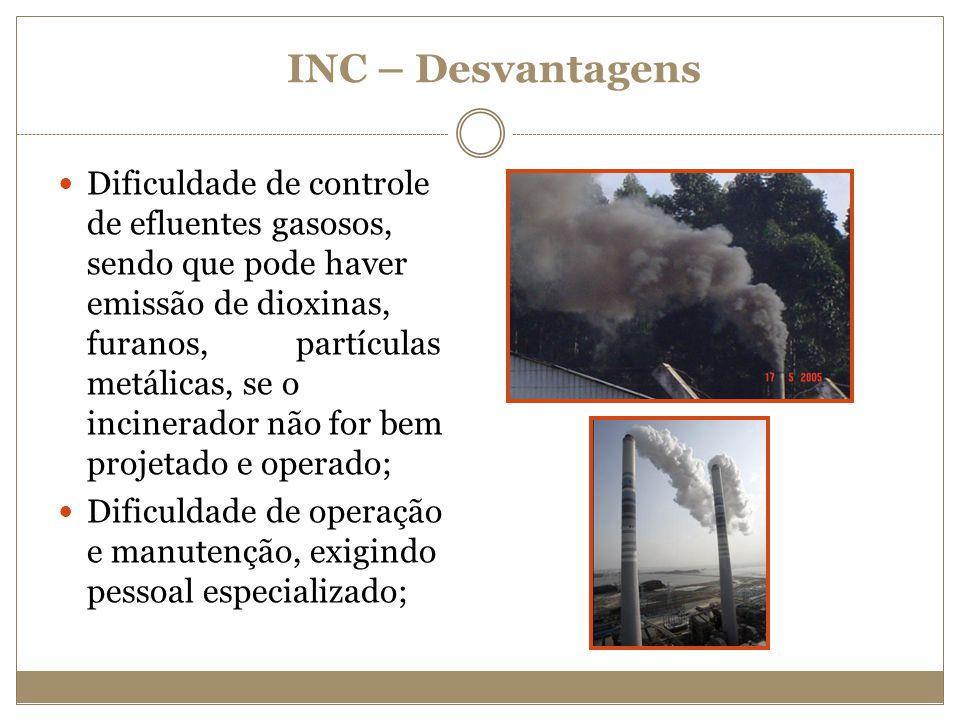 Dificuldade de controle de efluentes gasosos, sendo que pode haver emissão de dioxinas, furanos, partículas metálicas, se o incinerador não for bem pr