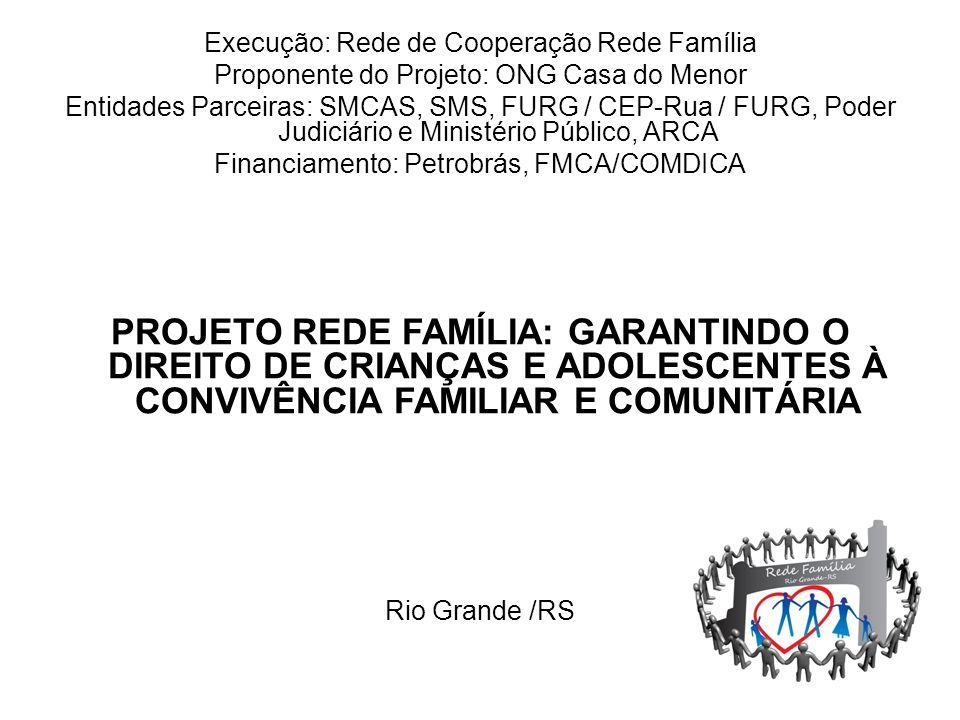 Execução: Rede de Cooperação Rede Família Proponente do Projeto: ONG Casa do Menor Entidades Parceiras: SMCAS, SMS, FURG / CEP-Rua / FURG, Poder Judic