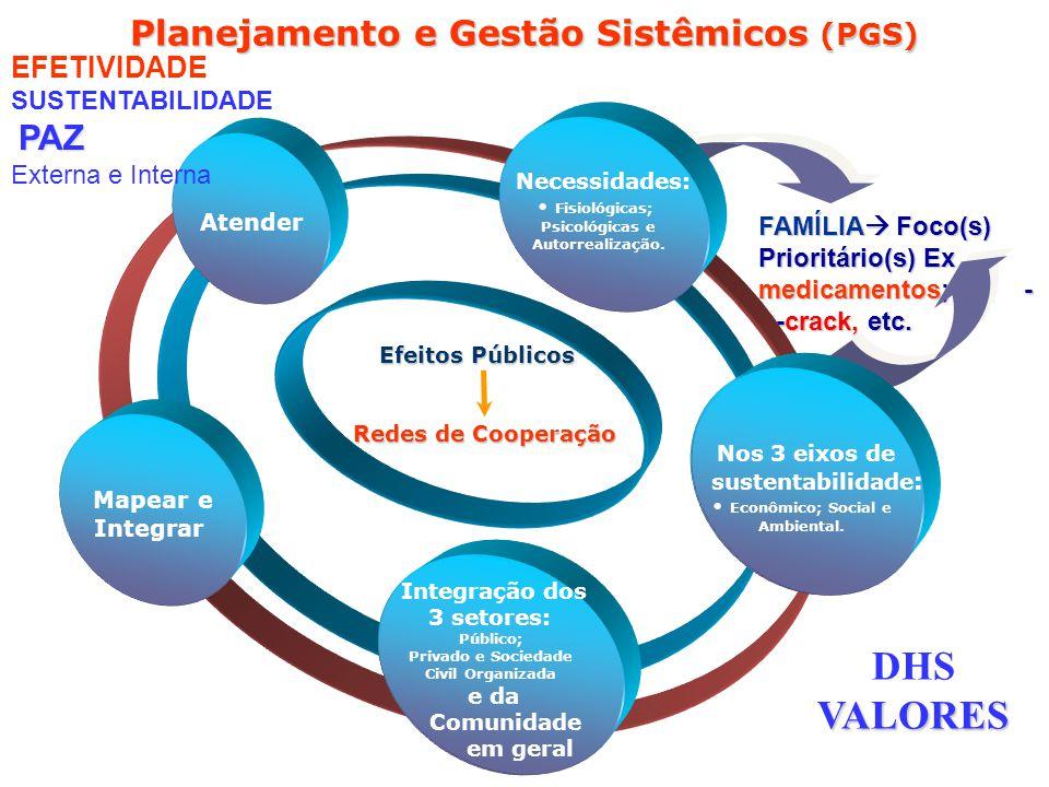 FAMÍLIA Foco(s) Prioritário(s) Ex medicamentos; - ---crack, etc. Planejamento e Gestão Sistêmicos (PGS) Integração dos 3 setores e da Comunidade em ge
