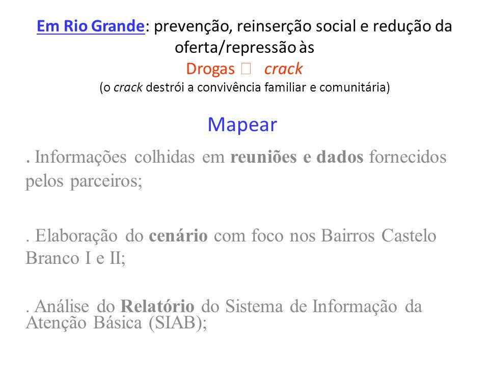 Em Rio Grande: prevenção, reinserção social e redução da oferta/repressão às Drogas crack (o crack destrói a convivência familiar e comunitária) Mapear.