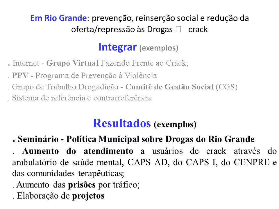 Em Rio Grande: prevenção, reinserção social e redução da oferta/repressão às Drogas crack Integrar (exemplos). Internet - Grupo Virtual Fazendo Frente