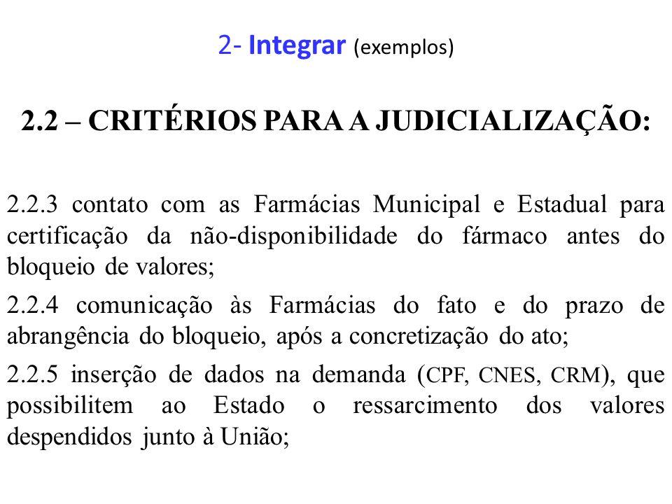 2- Integrar (exemplos) 2.2 – CRITÉRIOS PARA A JUDICIALIZAÇÃO: 2.2.3 contato com as Farmácias Municipal e Estadual para certificação da não-disponibili