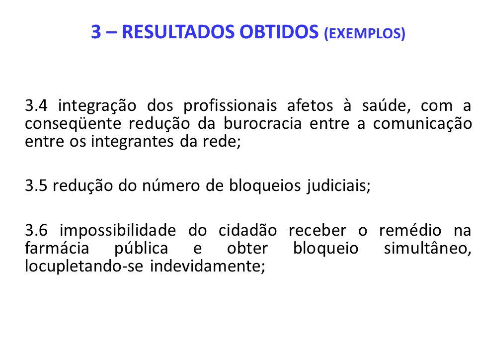 3 – RESULTADOS OBTIDOS (EXEMPLOS) 3.4 integração dos profissionais afetos à saúde, com a conseqüente redução da burocracia entre a comunicação entre o