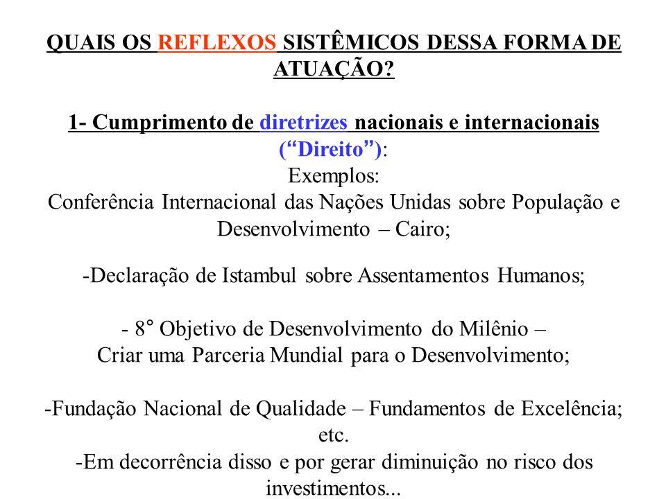 QUAIS OS REFLEXOS SISTÊMICOS DESSA FORMA DE ATUAÇÃO? 1- Cumprimento de diretrizes nacionais e internacionais (Direito): Exemplos: Conferência Internac