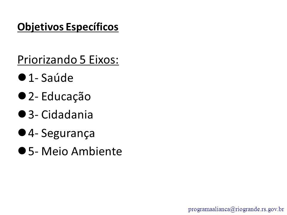 Objetivos Específicos Priorizando 5 Eixos: 1- Saúde 2- Educação 3- Cidadania 4- Segurança 5- Meio Ambiente programaalianca@riogrande.rs.gov.br