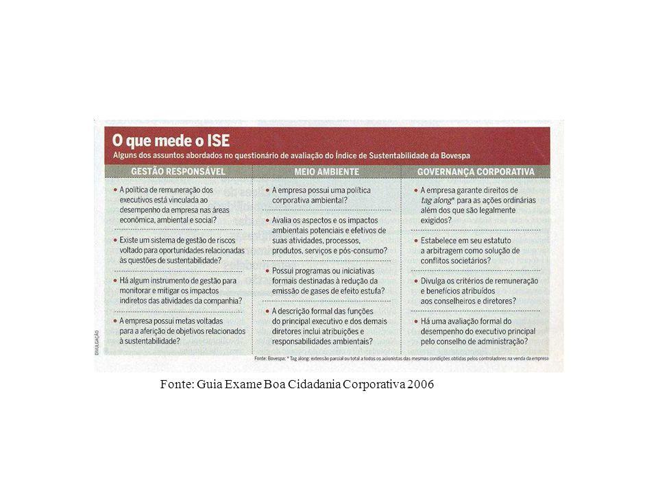 Fonte: Guia Exame Boa Cidadania Corporativa 2006