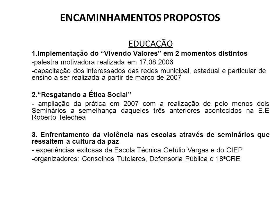 ENCAMINHAMENTOS PROPOSTOS EDUCAÇÃO 1.Implementação do Vivendo Valores em 2 momentos distintos -palestra motivadora realizada em 17.08.2006 -capacitaçã