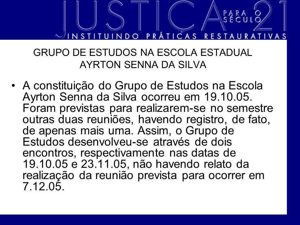 GRUPO DE ESTUDOS NA ESCOLA ESTADUAL AYRTON SENNA DA SILVA A constituição do Grupo de Estudos na Escola Ayrton Senna da Silva ocorreu em 19.10.05. Fora