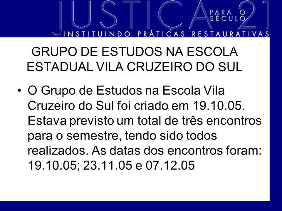 GRUPO DE ESTUDOS NA ESCOLA ESTADUAL VILA CRUZEIRO DO SUL O Grupo de Estudos na Escola Vila Cruzeiro do Sul foi criado em 19.10.05. Estava previsto um