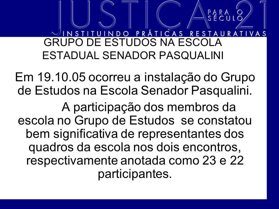 GRUPO DE ESTUDOS NA ESCOLA ESTADUAL SENADOR PASQUALINI Em 19.10.05 ocorreu a instalação do Grupo de Estudos na Escola Senador Pasqualini. A participaç
