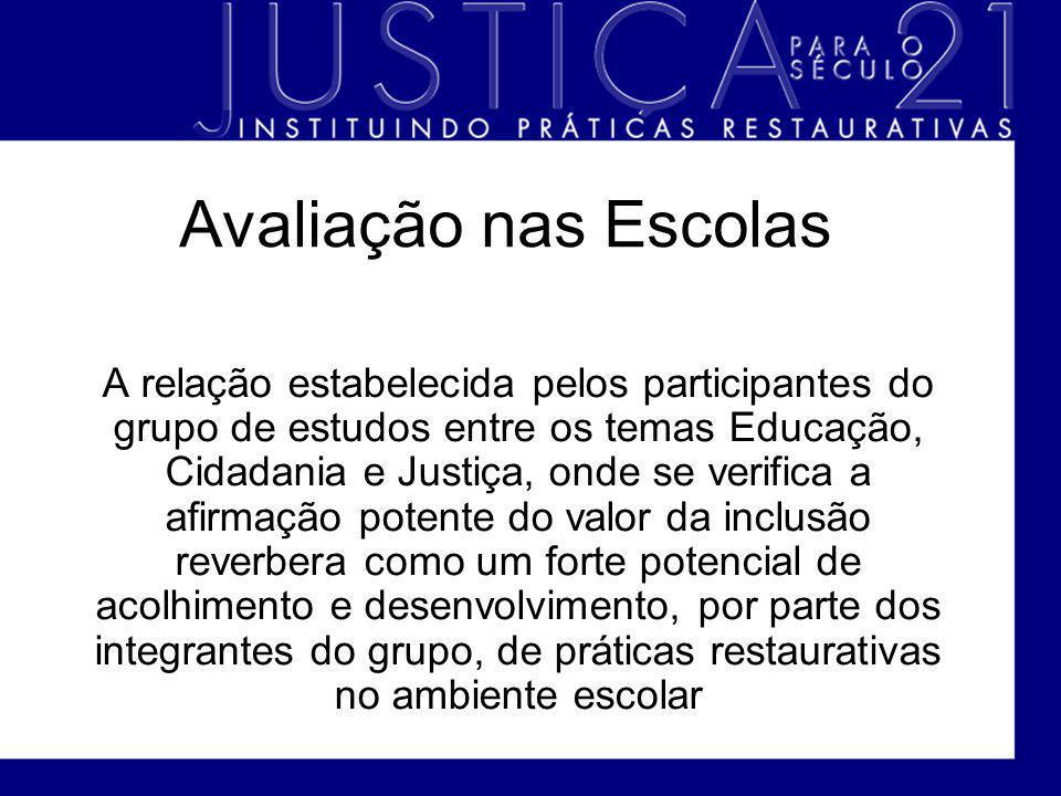 Avaliação nas Escolas A relação estabelecida pelos participantes do grupo de estudos entre os temas Educação, Cidadania e Justiça, onde se verifica a