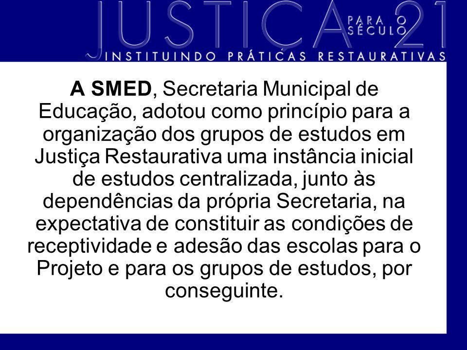A SMED, Secretaria Municipal de Educação, adotou como princípio para a organização dos grupos de estudos em Justiça Restaurativa uma instância inicial