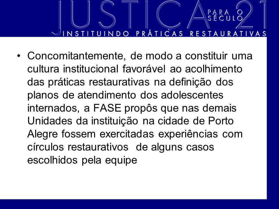 Concomitantemente, de modo a constituir uma cultura institucional favorável ao acolhimento das práticas restaurativas na definição dos planos de atend