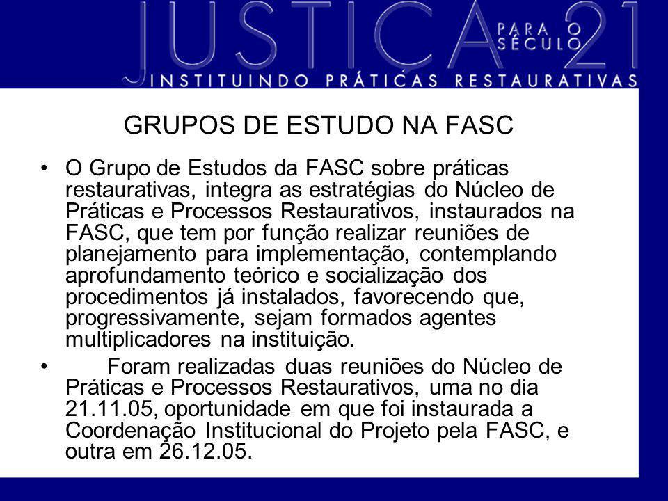 GRUPOS DE ESTUDO NA FASC O Grupo de Estudos da FASC sobre práticas restaurativas, integra as estratégias do Núcleo de Práticas e Processos Restaurativ