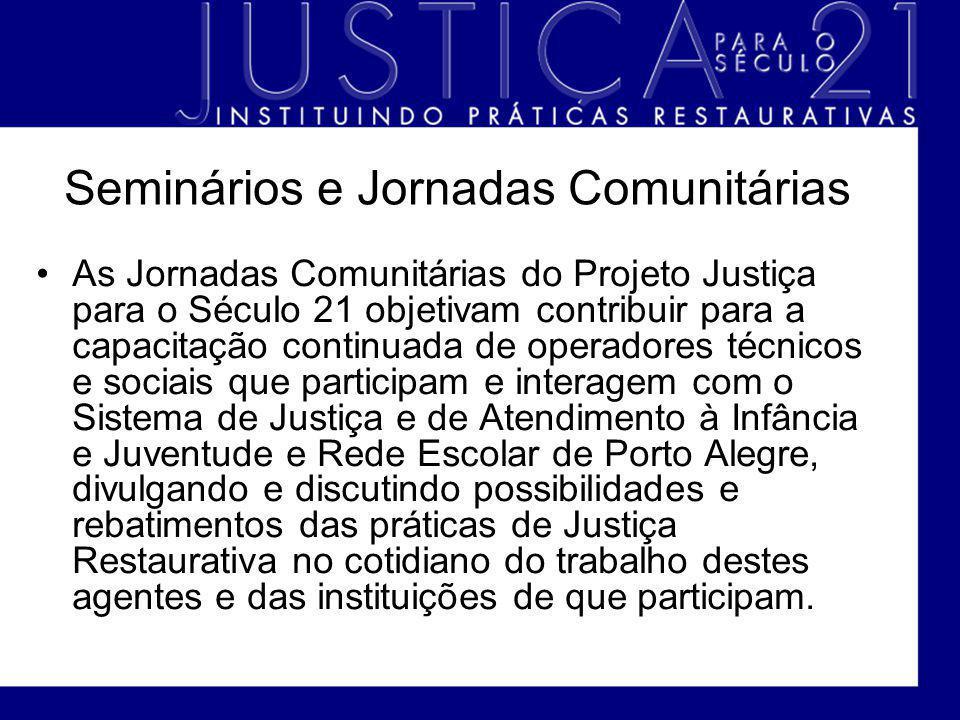 Seminários e Jornadas Comunitárias As Jornadas Comunitárias do Projeto Justiça para o Século 21 objetivam contribuir para a capacitação continuada de