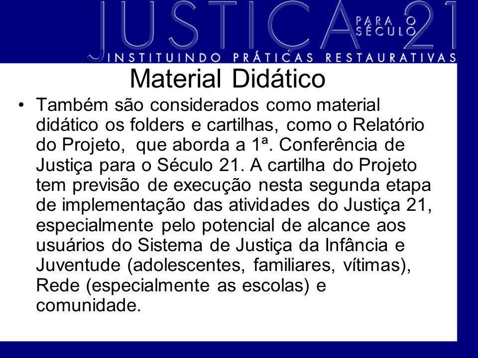 Material Didático Também são considerados como material didático os folders e cartilhas, como o Relatório do Projeto, que aborda a 1ª. Conferência de