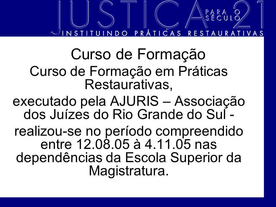 Curso de Formação Curso de Formação em Práticas Restaurativas, executado pela AJURIS – Associação dos Juízes do Rio Grande do Sul - realizou-se no per
