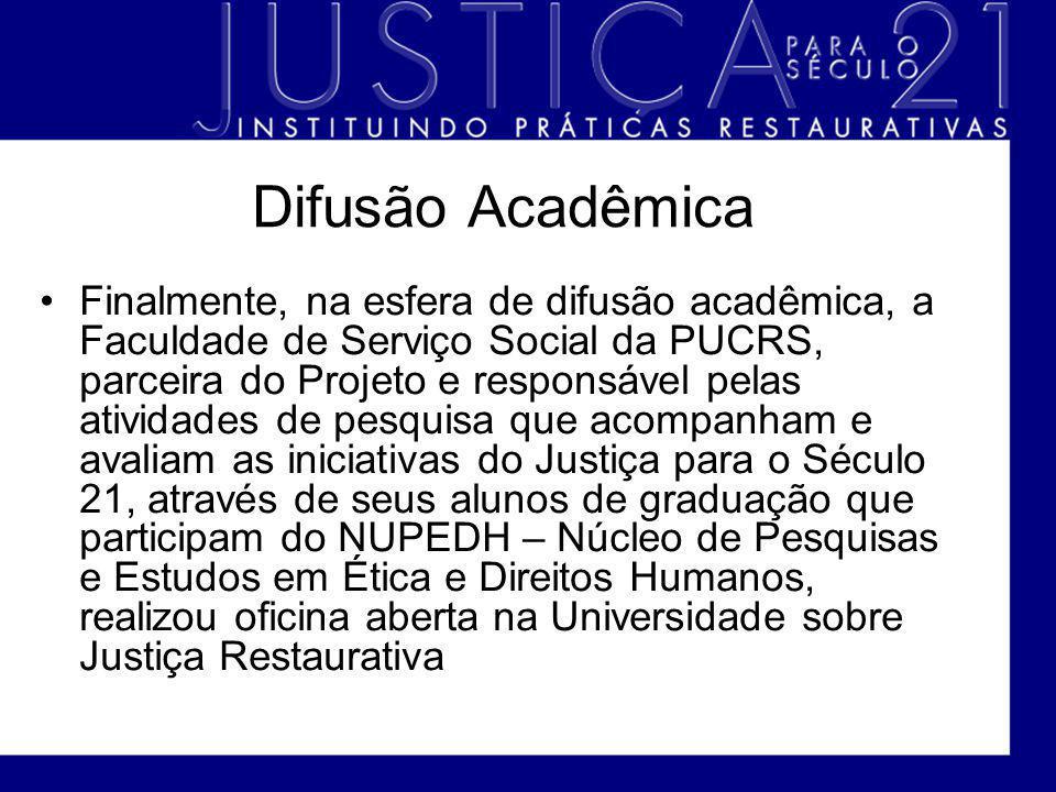Difusão Acadêmica Finalmente, na esfera de difusão acadêmica, a Faculdade de Serviço Social da PUCRS, parceira do Projeto e responsável pelas atividad